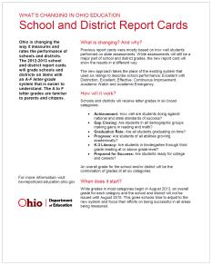 What's Changing in Ohio - School and District Report Cards